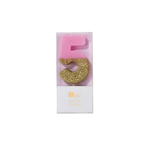 Buy Pink and gold birthday glitter number 5 candle