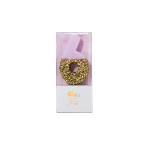 Buy Pink and gold birthday glitter number 6 candle