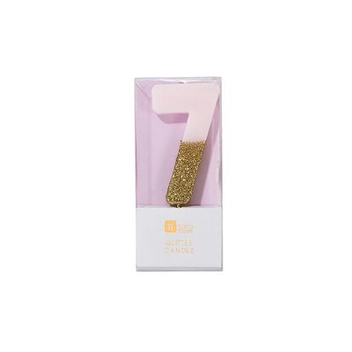 Buy Pink and gold birthday glitter number 7 candle