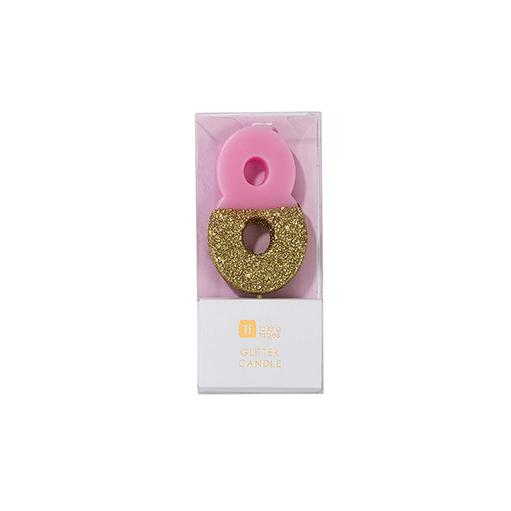Buy Pink and gold birthday glitter number 8 candle