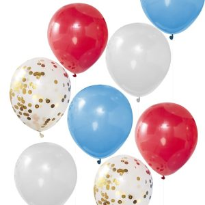 Buy red, white, blue and gold confetti balloons