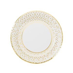 Party Porcelain Gold Paper Plates Medium