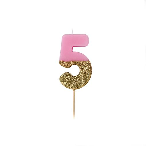 Pink and gold birthday glitter number 5 candle