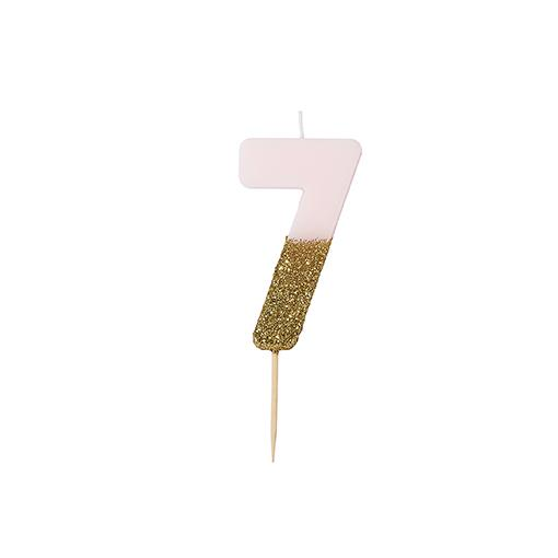 Pink and gold birthday glitter number 7 candle
