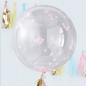 Pink confetti Orb Balloons Large