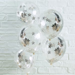 Silver Star Shaped Confetti Filled Ballons