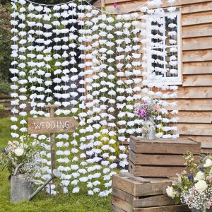 White Wedding Floral Photo Booth Backdrop Party Decoration