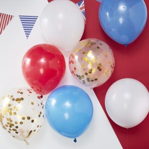 red, white, blue and gold confetti balloons