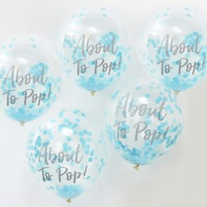 About to Pop Printed Blue Confetti Ballons