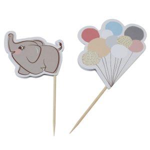 Buy Elephant & Balloons Food Cupcake Flags Little one