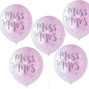 Buy Miss to Mrs Printed Pink Confetti Balloons
