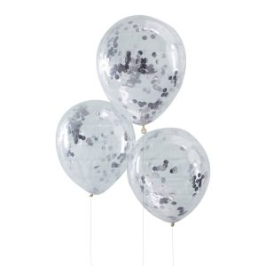 Buy Silver Confetti Filled Balloons Pick and Mix