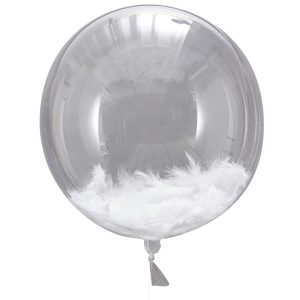 Buy White Feather Fillet Orb Balloons Beautiful botanics