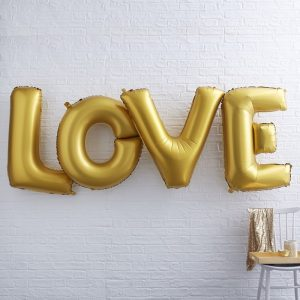 Giant Love Foiled Gold Balloons