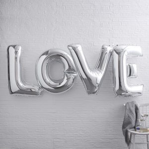Giant Love Foiled Silver Metallic Balloons
