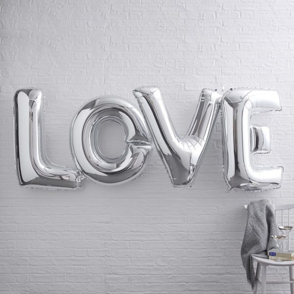 Giant Love Foiled Silver Metallic Balloons