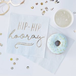 Gold Foiled Hip Hip Hooray Blue Paper Napkins