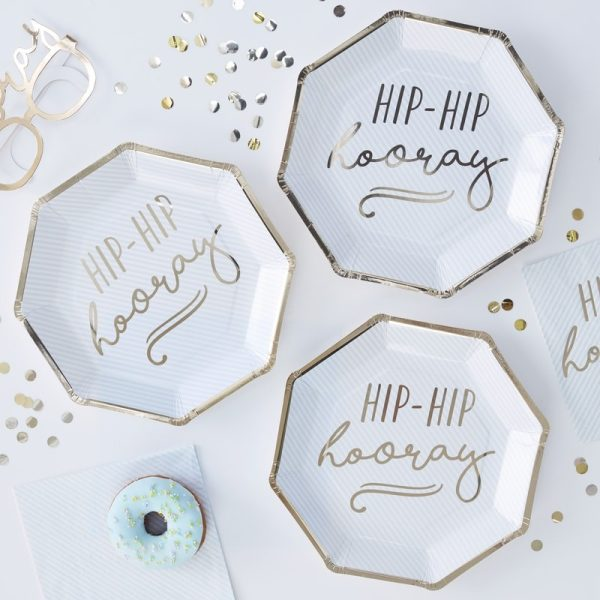 Gold Foiled Hip Hip Hooray Blue Paper Plates