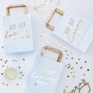 Gold Foiled Hip Hip Hooray Blue Party Bags