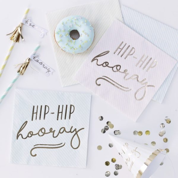 Gold Foiled Hip Hip Hooray Pastel Paper Napkins