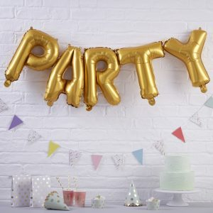 Gold Party Balloons Bunting