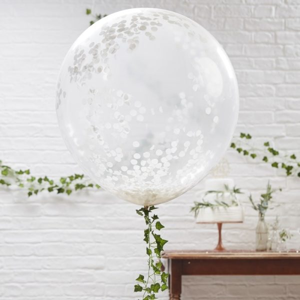 Large White Confetti Balloons