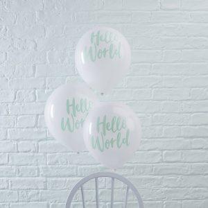 Mint Hello World Balloons