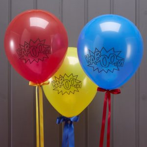 Multi coloured Balloons Comic Superhero