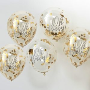Oh Baby Printed Gold Confetti Balloons