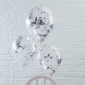 Silver Confetti Filled Balloons Pick and Mix