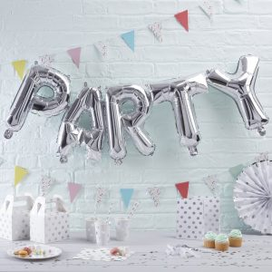 Silver Party Balloons Bunting
