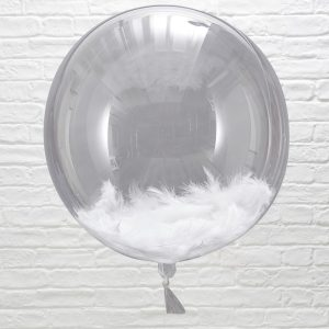 White Feather Fillet Orb Balloons