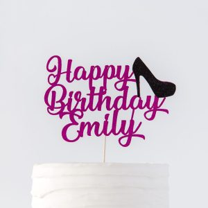 Happy Birthday Name and Age Cake Topper | Decorative High Heel