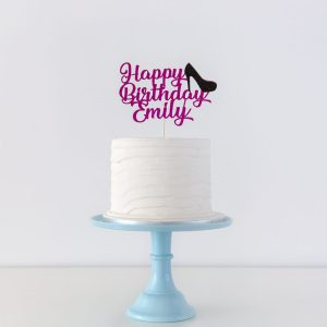 cake topper happy birthday name decorative high heel shoe new font on cake general