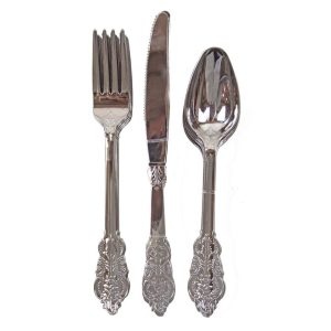 Buy Party Porcelain Silver Plastic Cutlery