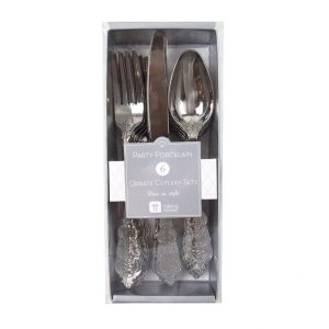 Party Porcelain Silver Plastic Cutlery