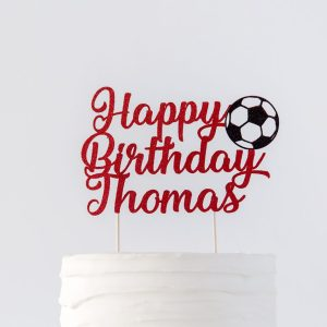 birthday cake topper with football decoration