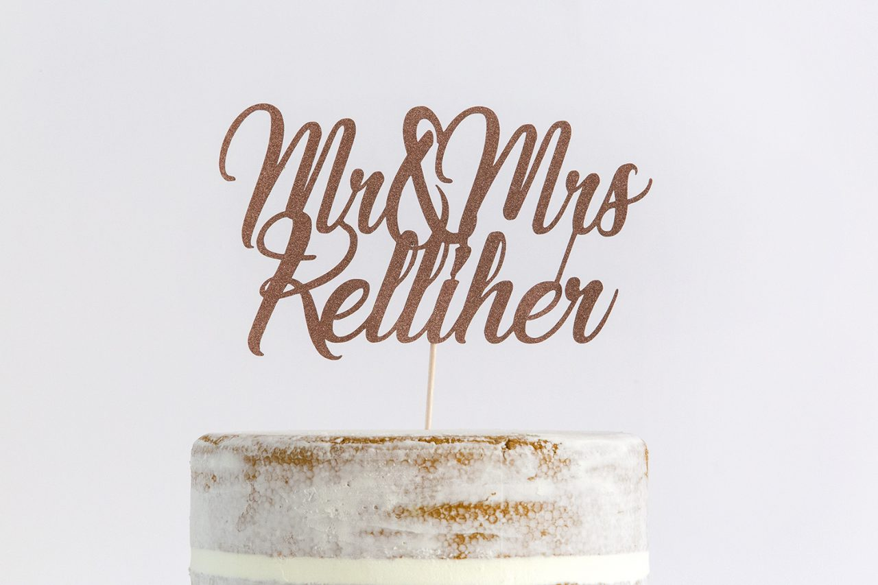 Mr Mrs Wedding Cake Topper Personalised With Surname