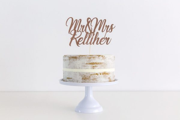 Mr & Mrs wedding cake topper personalised with surname