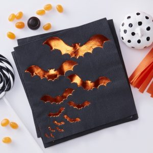 Buy Orange Foiled Bat Design Paper Napkins