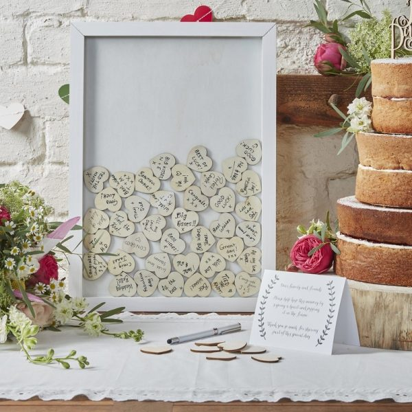 Drop Top Wooden Frame Alternative Guest Book