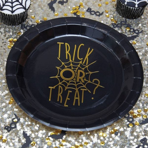 Gold Foiled Halloween Plate