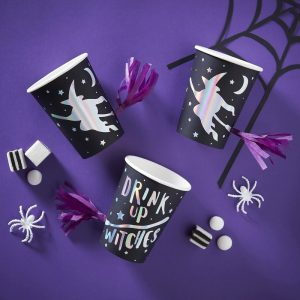 Iridescent Foiled Drink Up Witches Tassel Cups