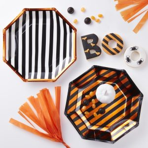 Orange Foiled Twin Pack Design Paper Plates