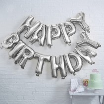 Silver Happy Birthday Foil Balloon Bunting