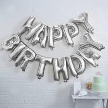 Silver Happy Birthday Foil Balloon Bunting