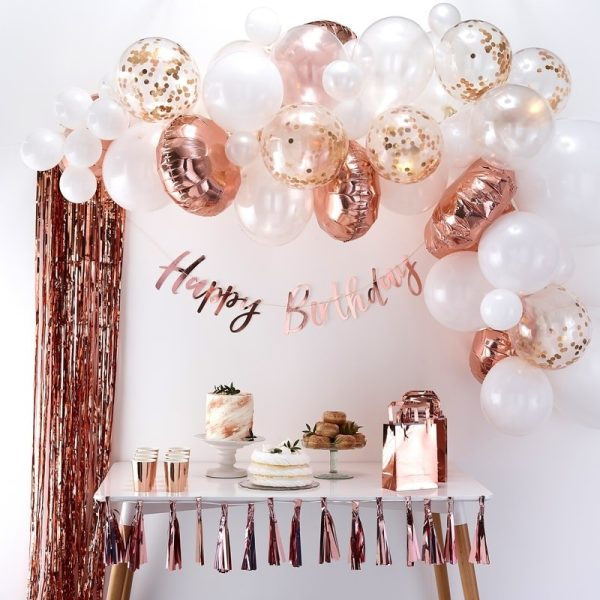 rose gold balloon arch