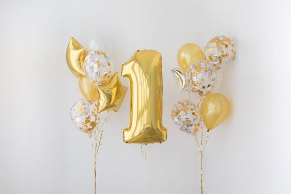 first birthday helium balloon gold