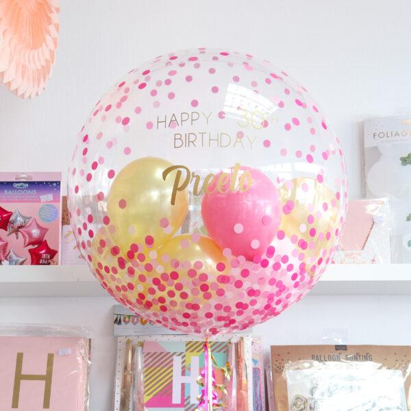 Pink Confetti Bubble Balloon
