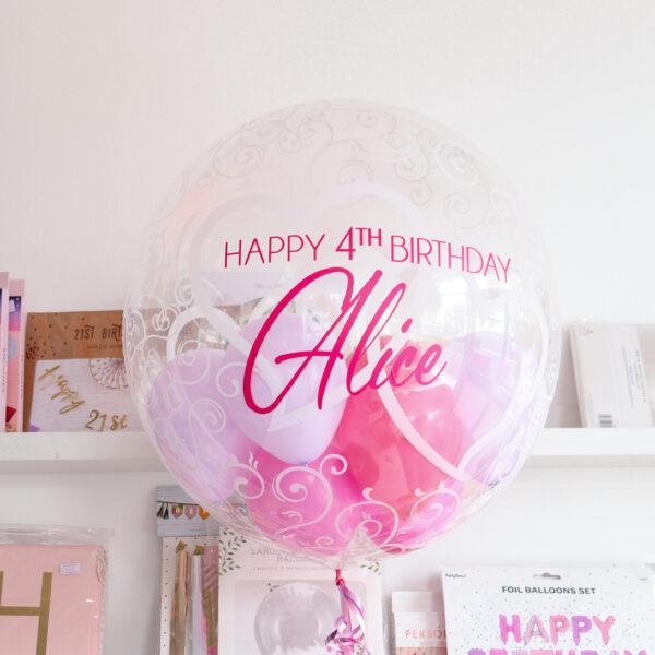 Happy Birthday Bubble Balloon Hearts